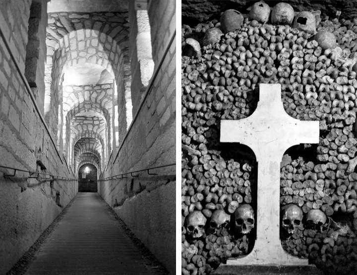 Catacombs tunnel and cross