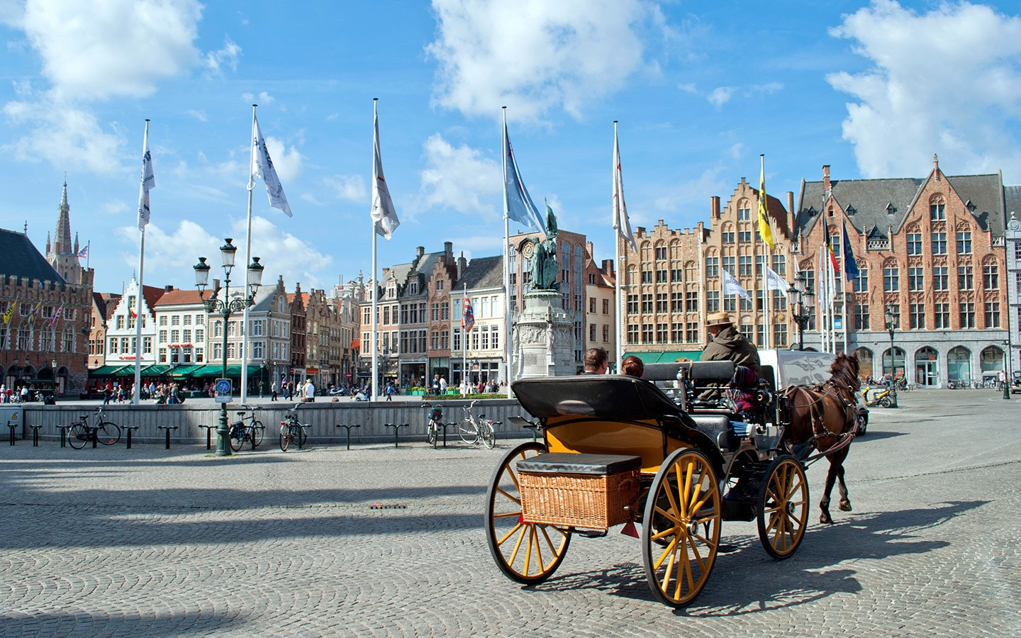 Horse and carriage in the Grote-Markt in Bruges, Belgium