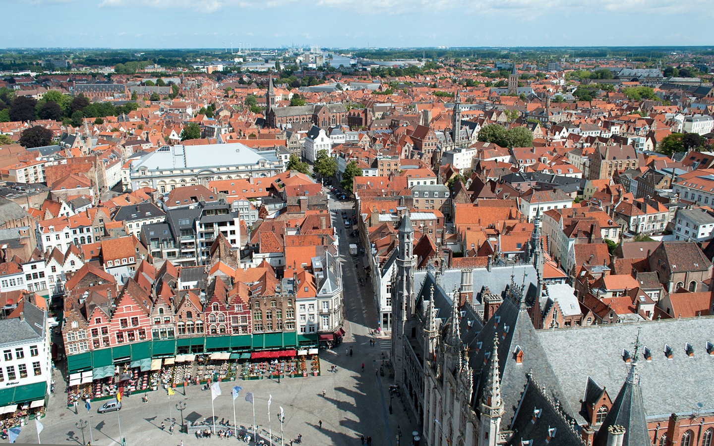 Views over Bruges from the top of th Belfort tower