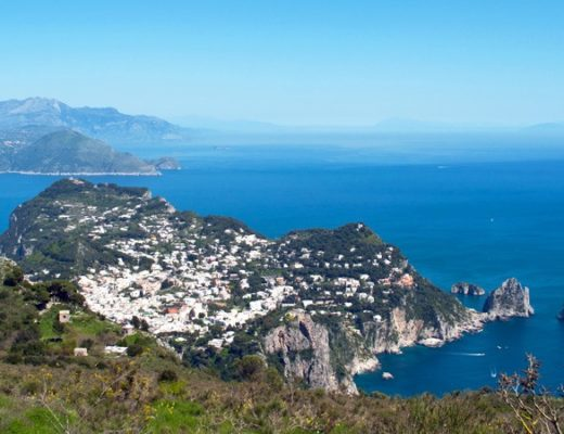 View across Capri from the top of Monte Solaro, Italy
