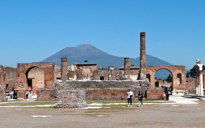 Visiting Pompeii in Southern Italy, the archaeological site preserved like a snapshot of Roman life frozen in time when Mount Vesuvius erupted in 79 AD.
