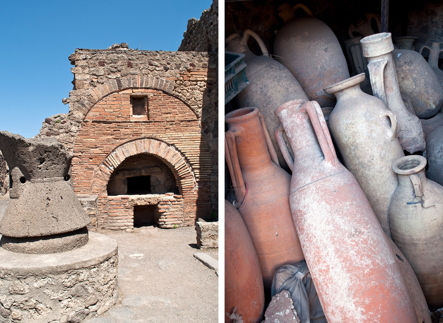 A Pompeii archway and amphorae clay jars