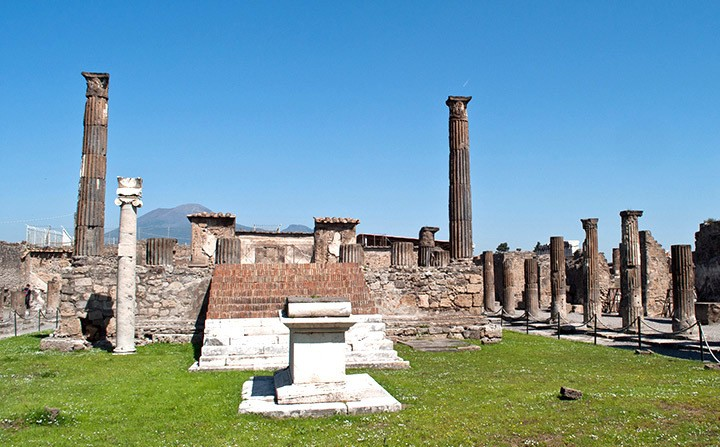 Ruined temple at Pompeii, Italy
