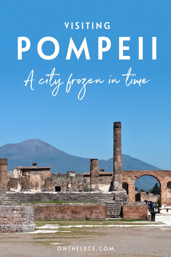 Visiting Pompeii in Southern Italy, the archaeological site preserved like a snapshot of Roman life frozen in time when Mount Vesuvius erupted in 79 AD. #Italy #Pompeii #archaeology