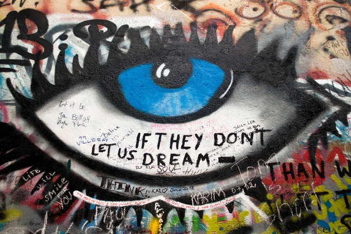 Eye painting on the John Lennon Wall