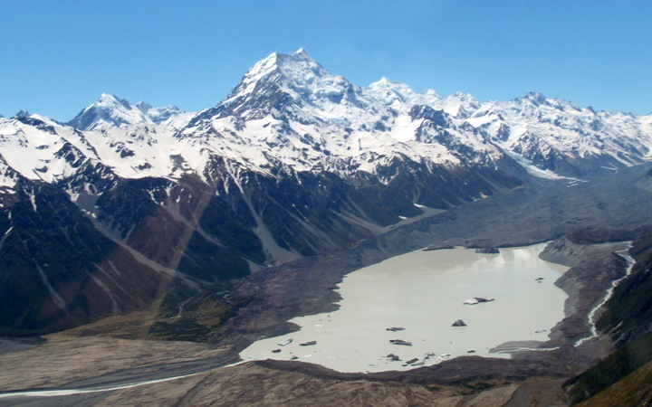 View from a helicopter trip to Mount Cook, South Island, New Zealand