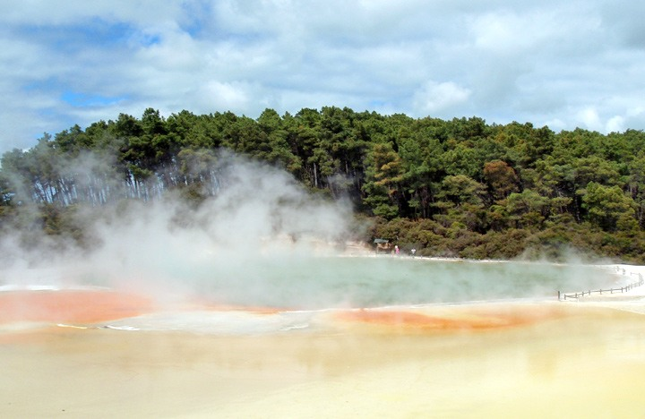 Steaming lake at Wai O Tapu