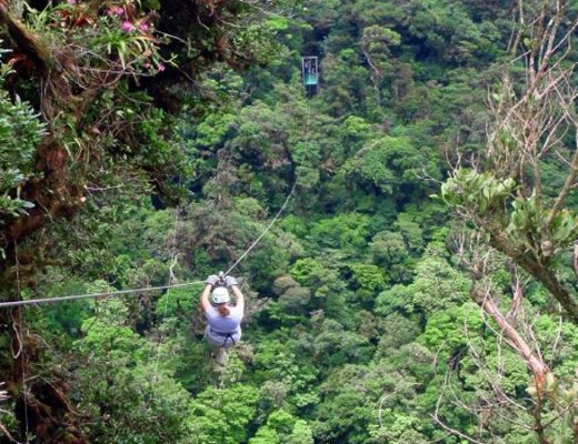 Zip lining across the cloud forest in Monteverde, Costa Rica