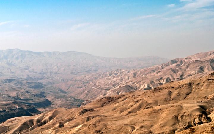 Mountain scenery along the King's Highway in Jordan