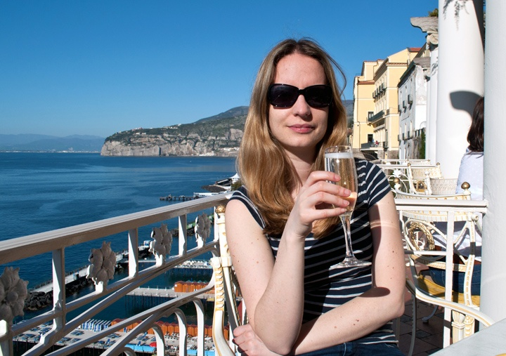 Drinking prosecco in Sorrento, Italy