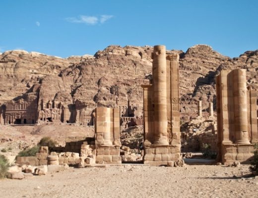 The Royal Tombs and Roman columns at Petra, Jordan