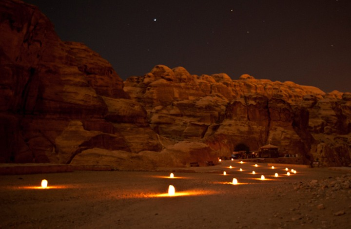 The entrance to Petra by candlelight, Jordan