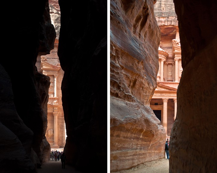First glimpses of the Treasury at Petra, Jordan