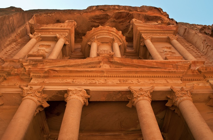 The Treasury at Petra in Jordan at sunset
