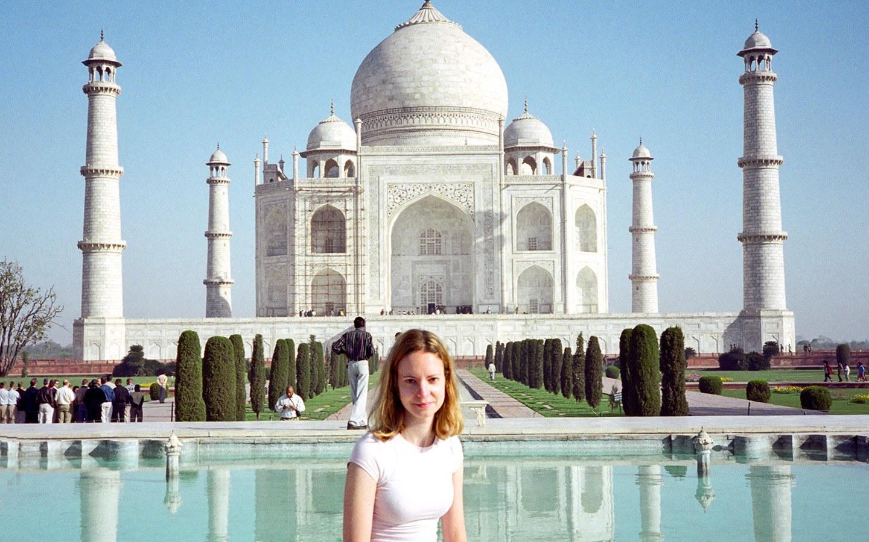 Lucy at the Taj Mahal, India