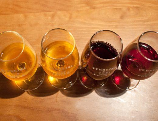 Port tasting samples in Porto, Portugal