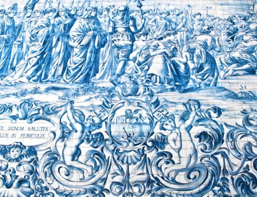 Blue and white azulejo tiles in Porto, Portugal