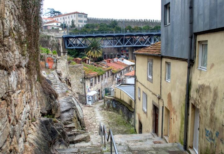 Narrow alleyways in Porto's Ribeira old town, Portugal