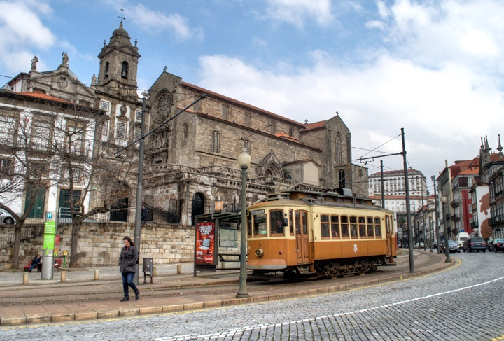 Tram in Porto's Ribeira old town, Portugal