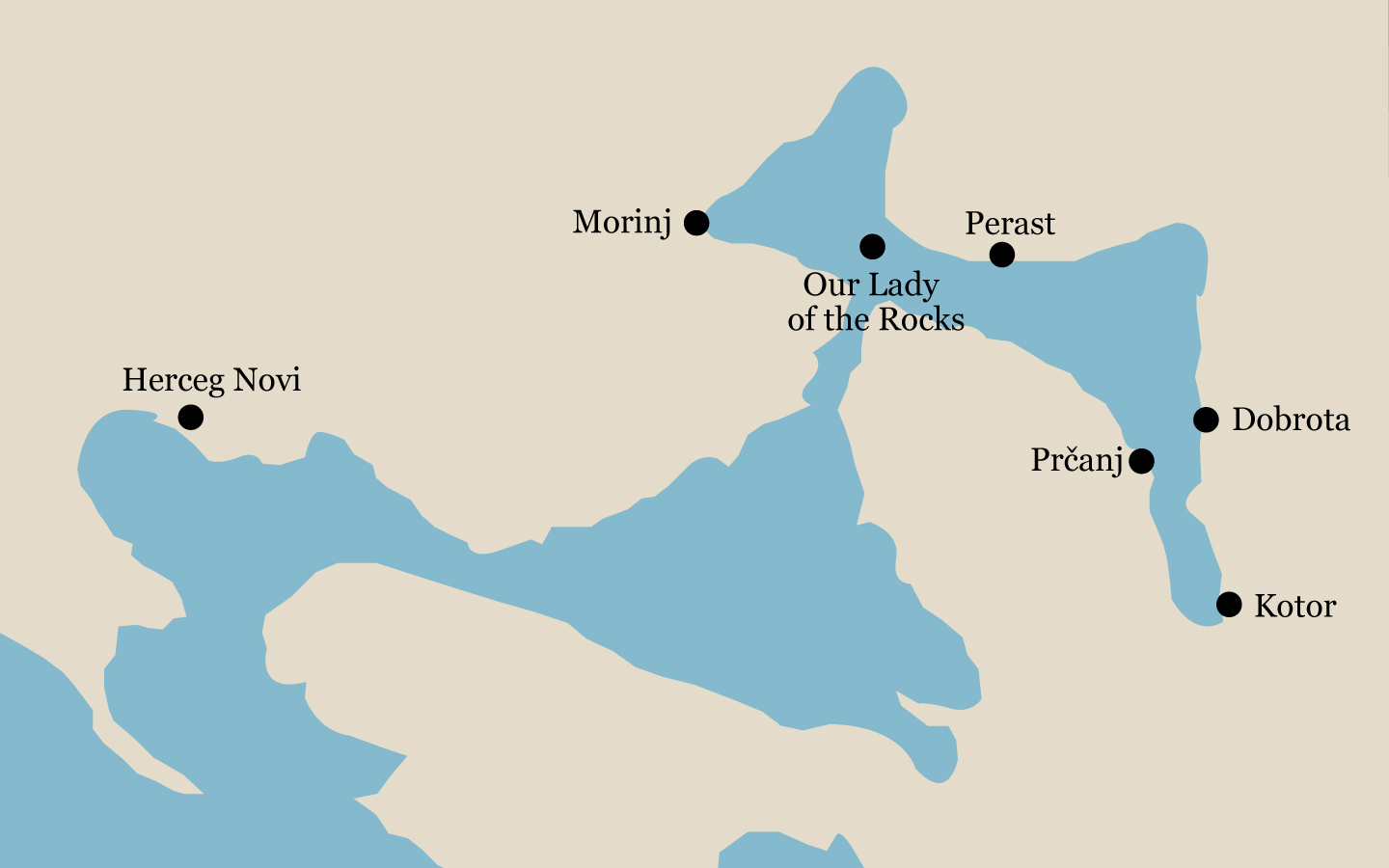 Map of the Bay of Kotor