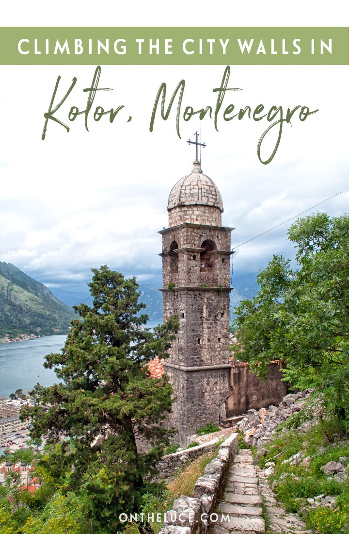 Climbing the Kotor city walls, set high above the medieval town of Kotor in Montenegro in the Balkans, for the best panoramic views across the Bay of Kotor – one of the top things to do in Kotor. #Kotor #Montenegro #walls #view