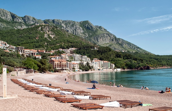 Sveti Stefan beach on the Adriatic coast in Montenegro