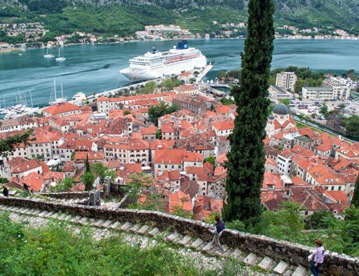 Climbing Kotor city walls, Montenegro