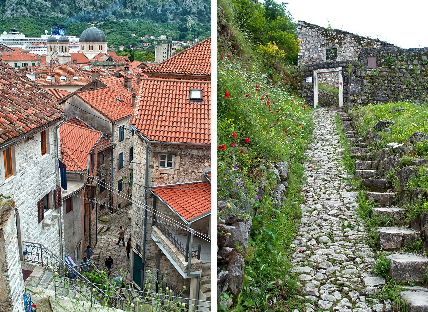 The fortified city walls of Kotor, Montenegro