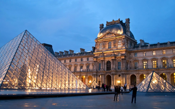 The Louvre museum in Paris at dusk