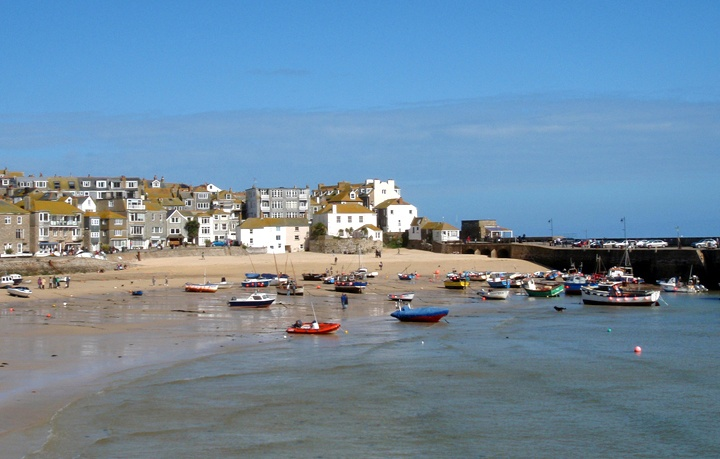 St Ives harbour in Cornwall, UK