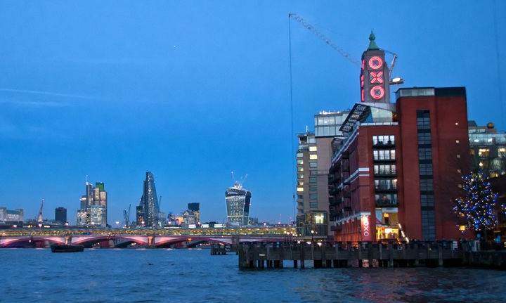 London's South Bank at dusk