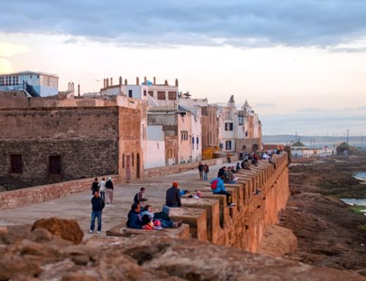 The ramparts in Essaouira at sunset, Morocco