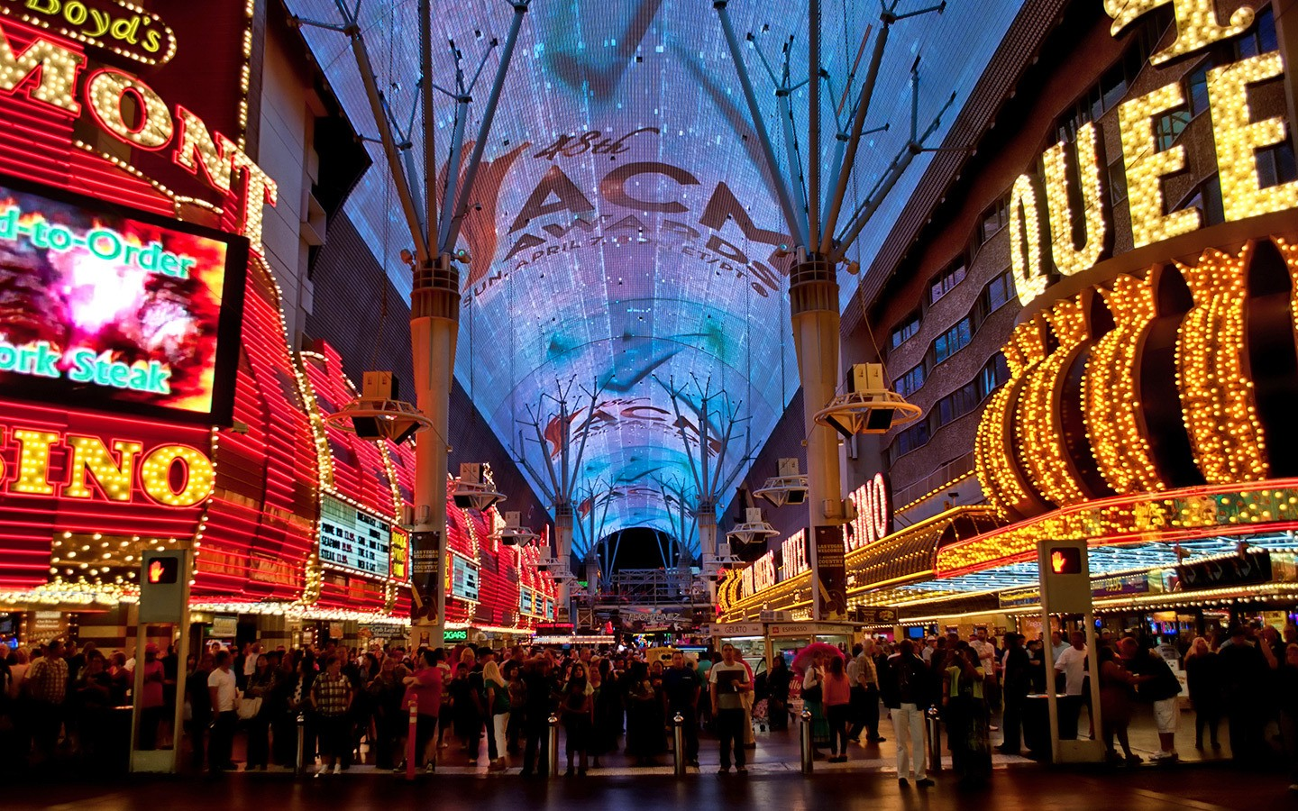 Fremont Street Experience free light show in Las Vegas, Nevada USA