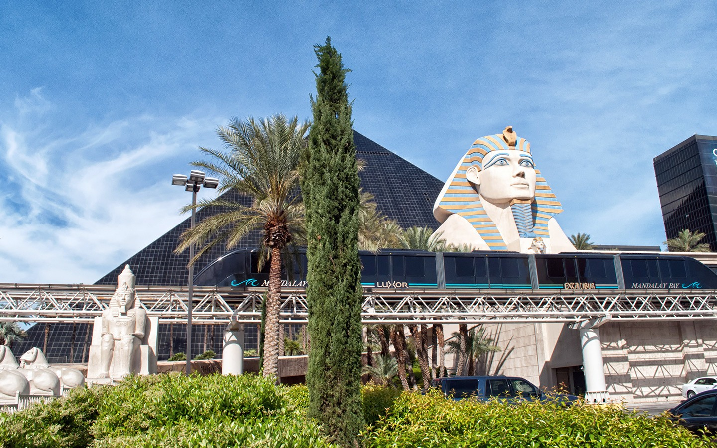 The Mandalay Bay–Excalibur monorail passing by the Luxor