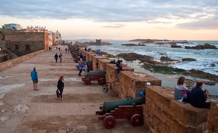 The Essaouira ramparts at sunset