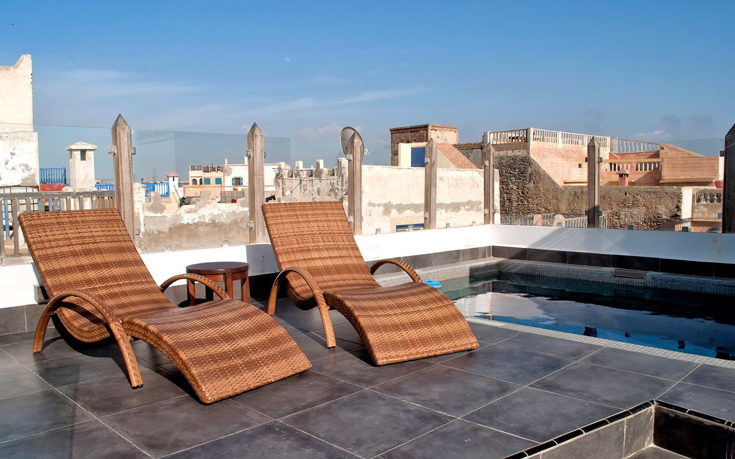 Roof terrace and pool at Riad dar Maya in Essaouira, Morocco