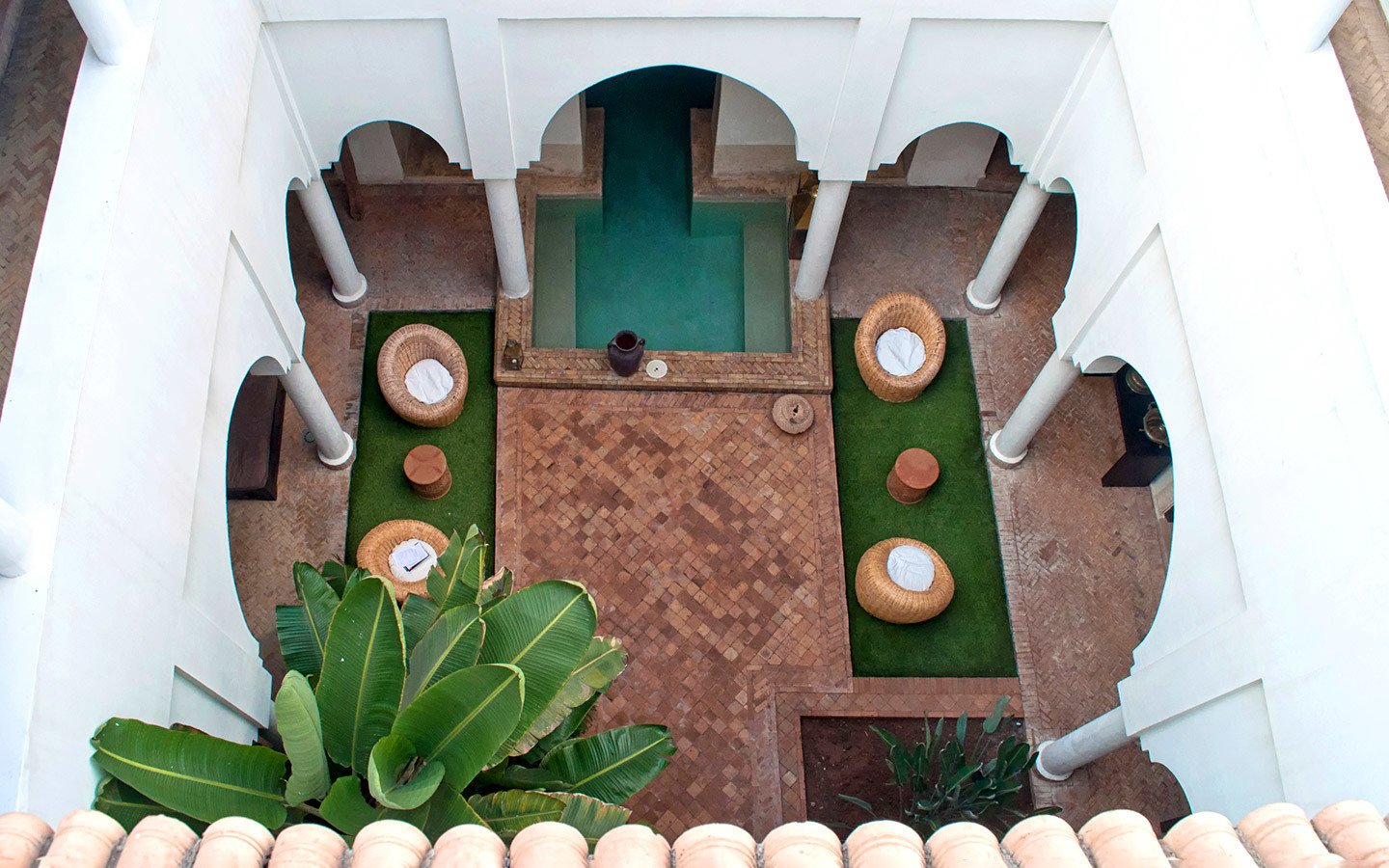 Courtyard at Riad Capaldi in the medina of Marrakech, Morocco