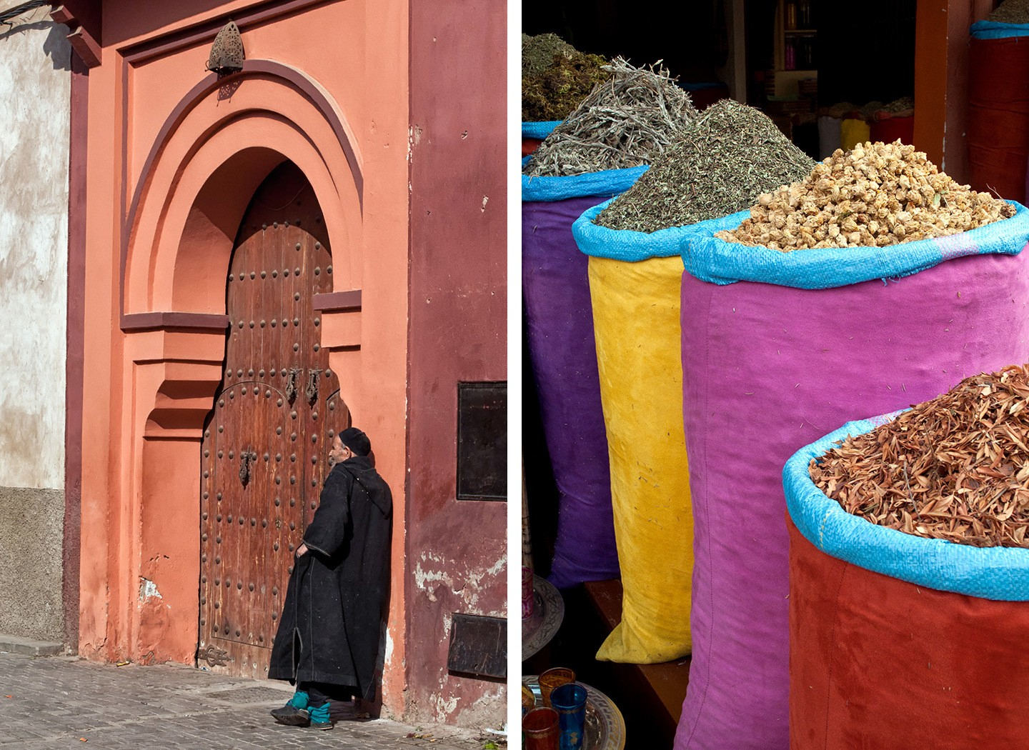 Colourful spices and doorways in the souk, Marrakech