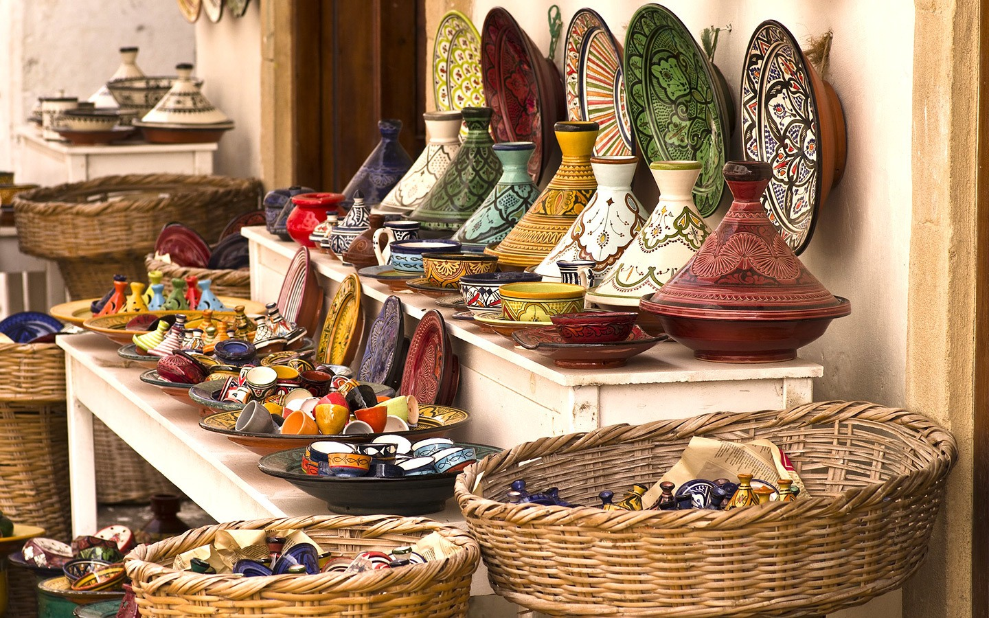 Colourful tagines for sale in the Marrakech souks