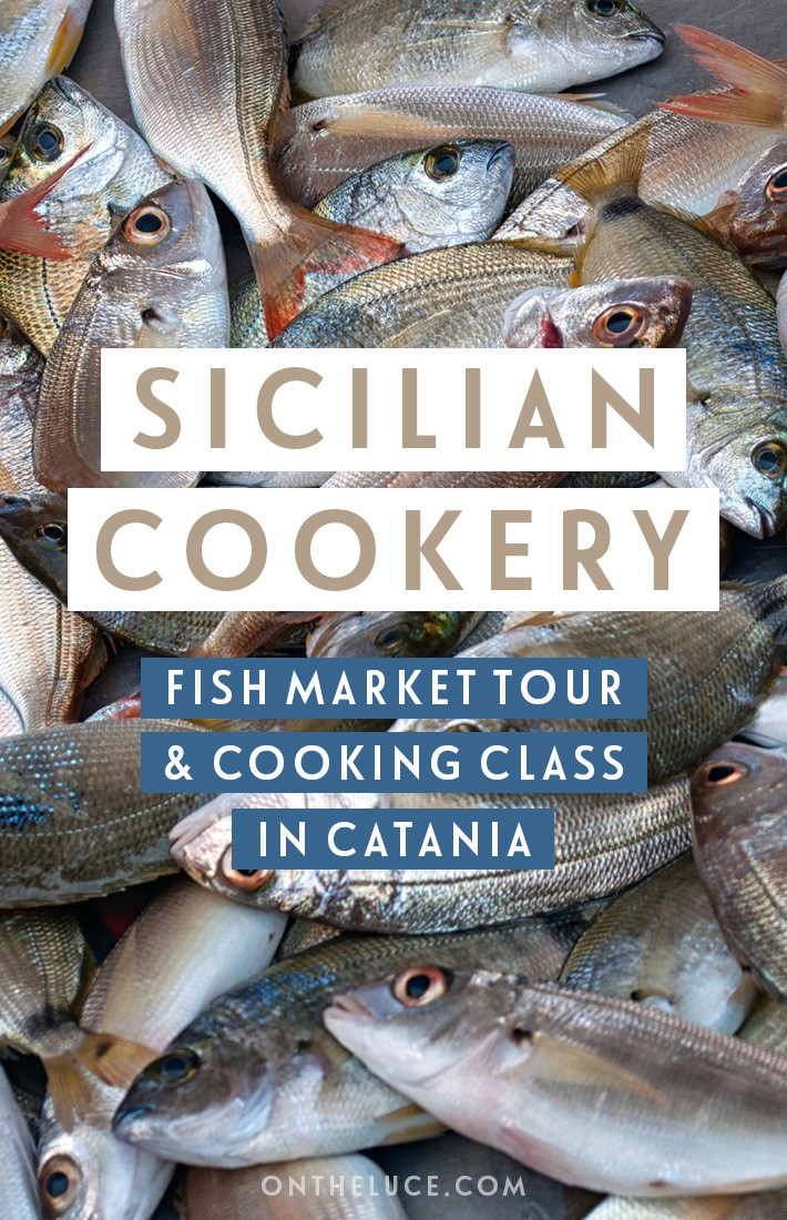 Exploring the food and culture of Catania in Sicily, with a tour of the Pescateria fish market and creating traditional dished on a Sicilian cooking class. #Sicily #Italy #Catania #food #cookeryclass #markettour #Sicilianfood