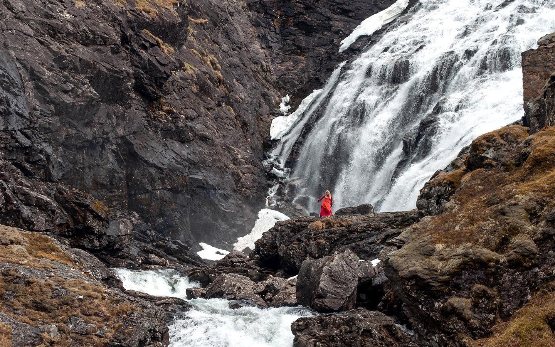 Kjosfossen waterfall on the Flam Railway, Norwegian fjords