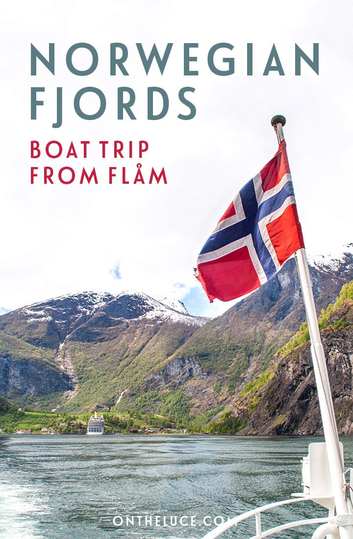 A scenic Norwegian fjords boat trip from Flåm to Gudvangen through the Sognefjord – Norway's longest fjord – on a fjord cruise past waterside villages, mountains and waterfalls #fjords #Norway #boattrip #cruise #Flam #Sognefjord