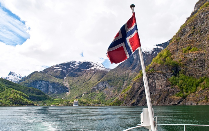 Sailing out of Flam into the Sognefjord, Norway