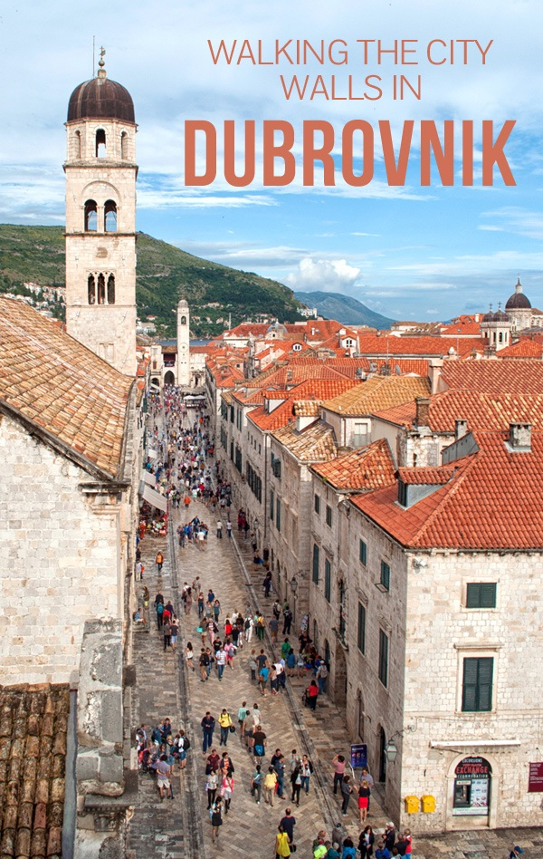 Walking the city walls in Dubrovnik, Croatia – the city from above, with dramatic cliffs, red-roofed buildings and ancient gates and towers – ontheluce.com