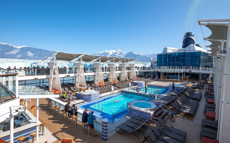 Pool on deck on an Alaska cruise