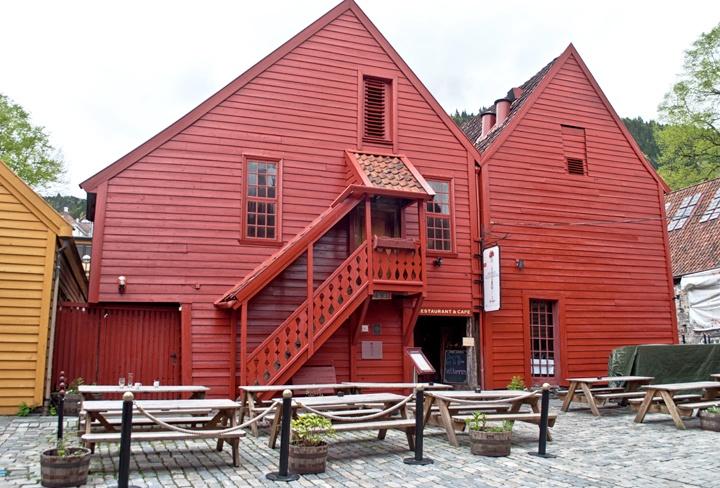 Red buildings in Bryggen, Bergen Norway