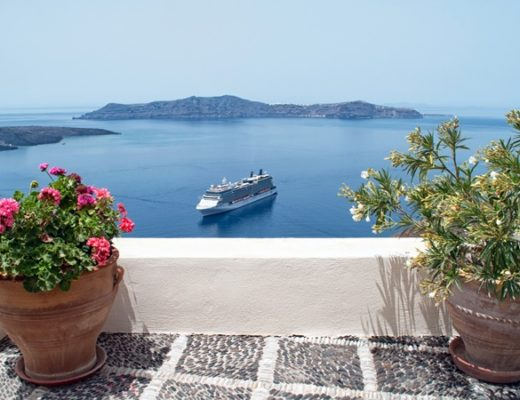 Cruise ships in Santorini, Greece
