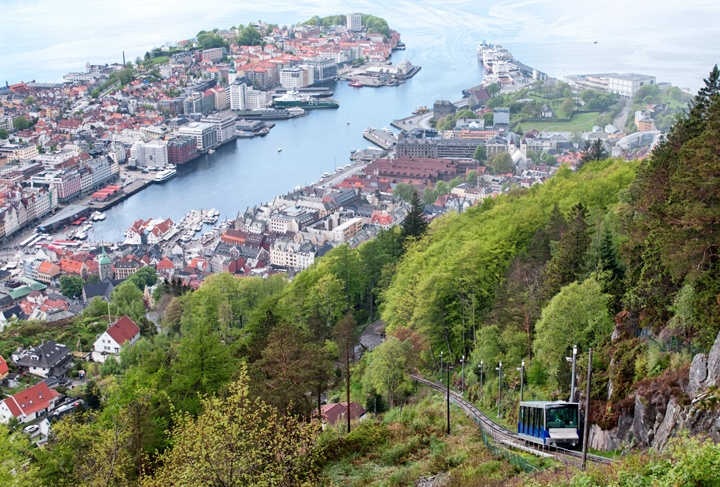 Fløibanen funicular railway, Bergen in Norway
