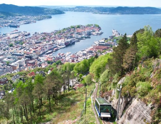Floibanen funicular railway in Bergen, Norway