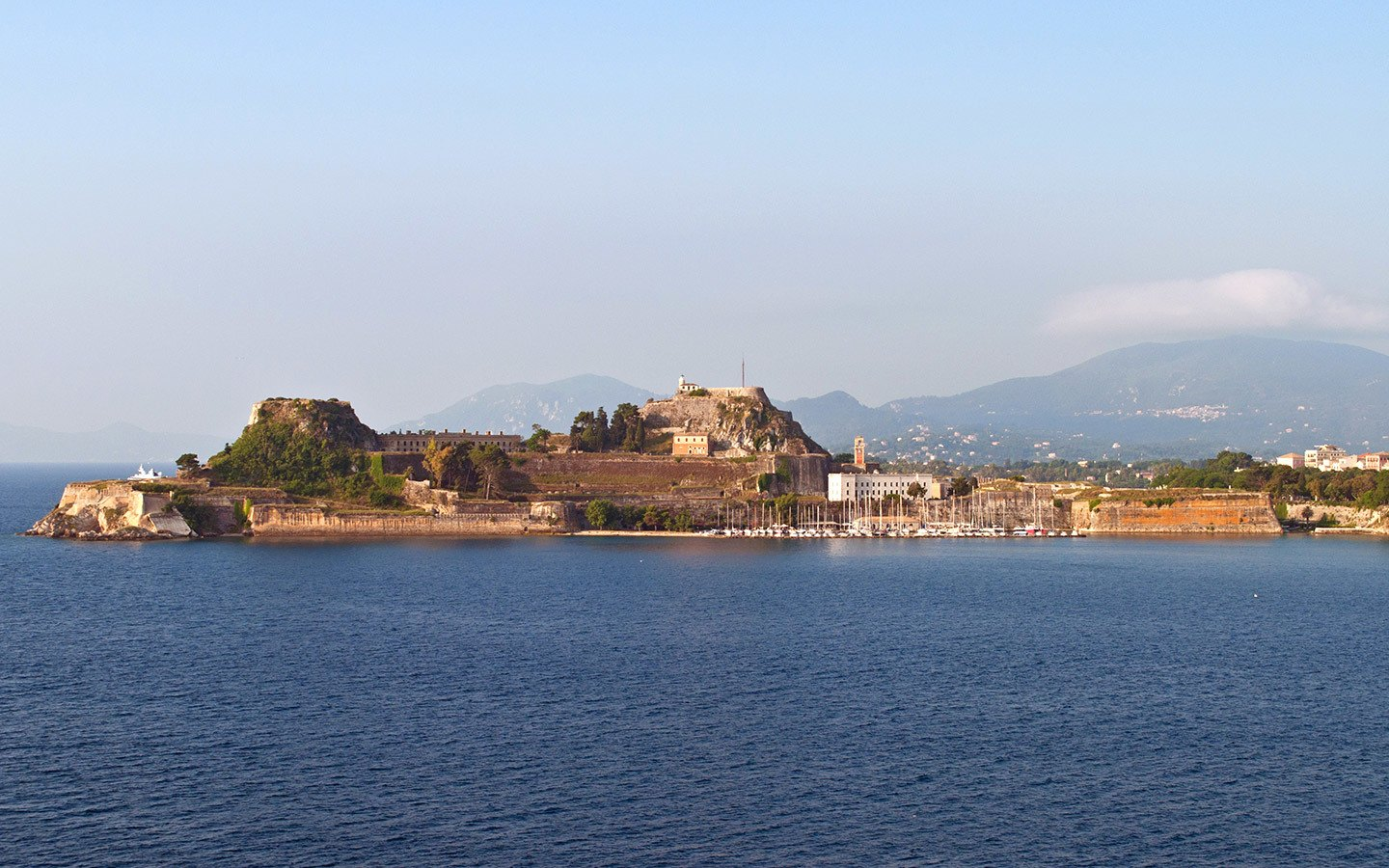 Sailing into Corfu early in the morning